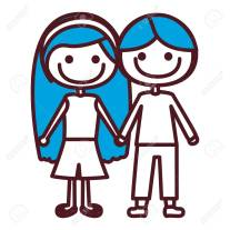 hand drawing silhouette caricature couple kids with blue hair in casual clothes taken hands